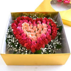 삼색장미 꽃상자