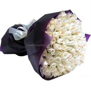 [장미100송이]화이트 꽃다발
